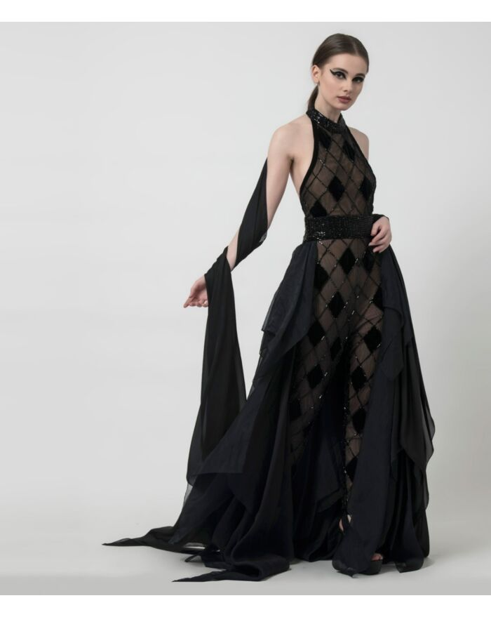 SM Premium Embellished Black Sheer Backless Jumpsuit with Fluffy Draped Skirt