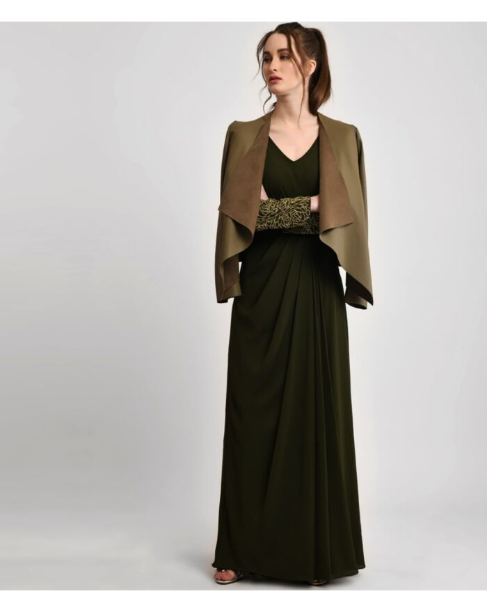 Deep Olive Green Embellished Draped Gown