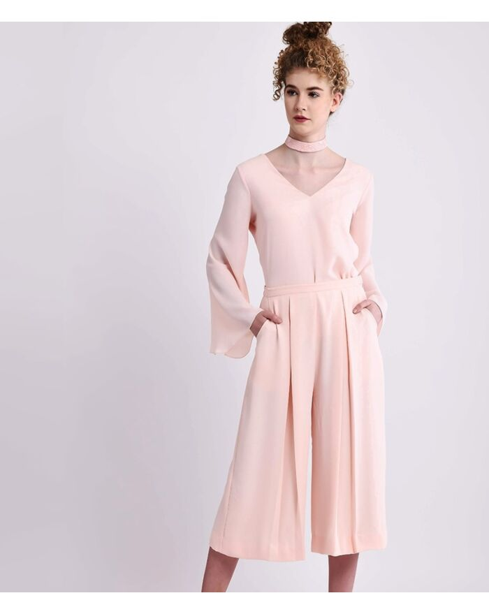 Pale Pink Comfort Chic Vneck Top With Bell Sleeves And Choker