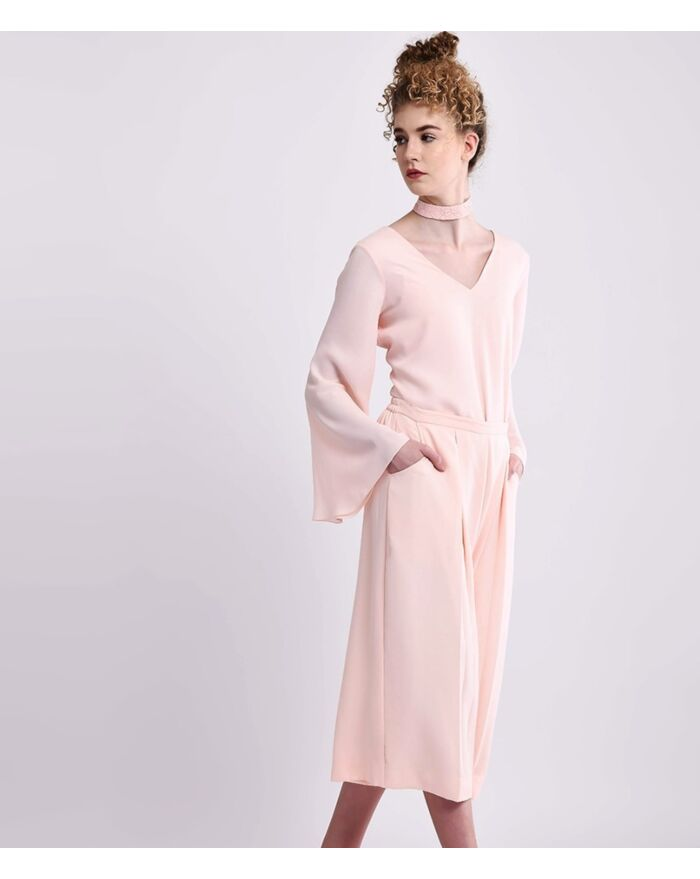 Pale Pink Comfort Chic Wide Legged Culottes