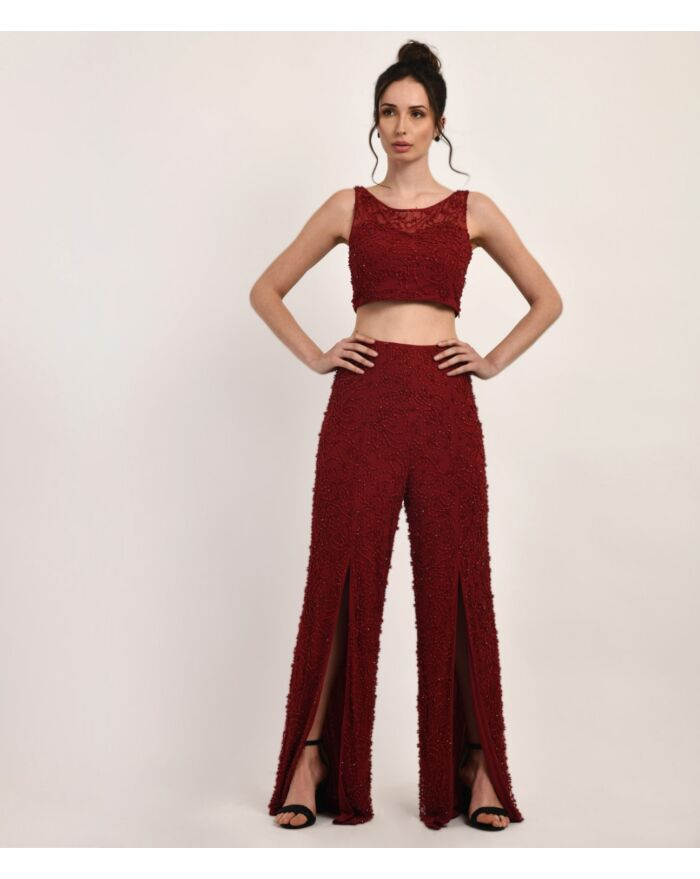 SM Premium Maroon Tone on Tone Embellished Crop Top and Pants Combo Set