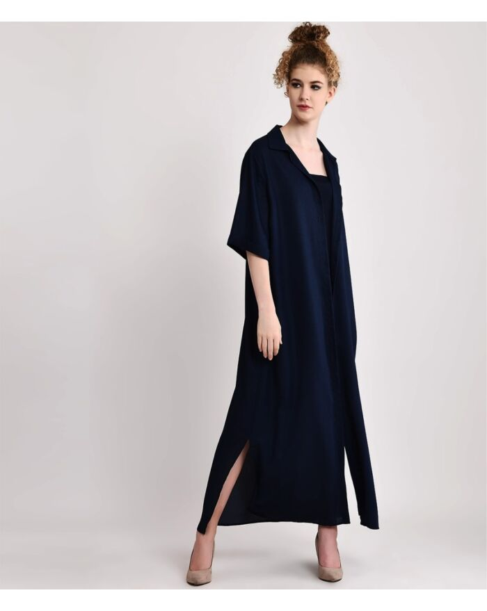 Relaxed Navy Blue Multiway Shirt Dress