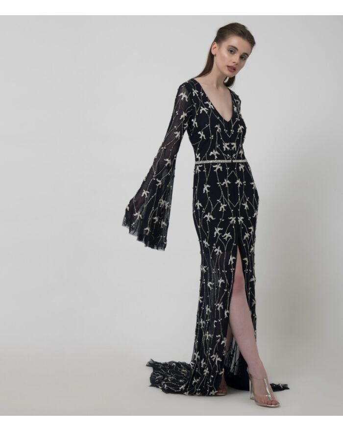 SM Premium Crystal Embellished Fit to Flare Gown with Long Flounce Sleeves and Centre Slit