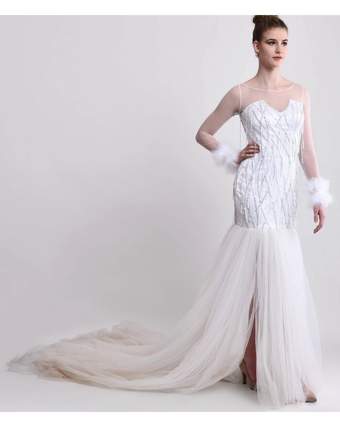 SM Premium Embellished White Gown With Sweeping Trail