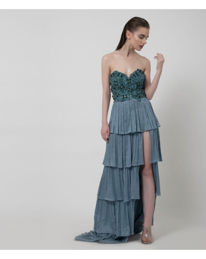 SM Premium Dusty Blue Off Shoulder Intricately Embellished Tiered Gown