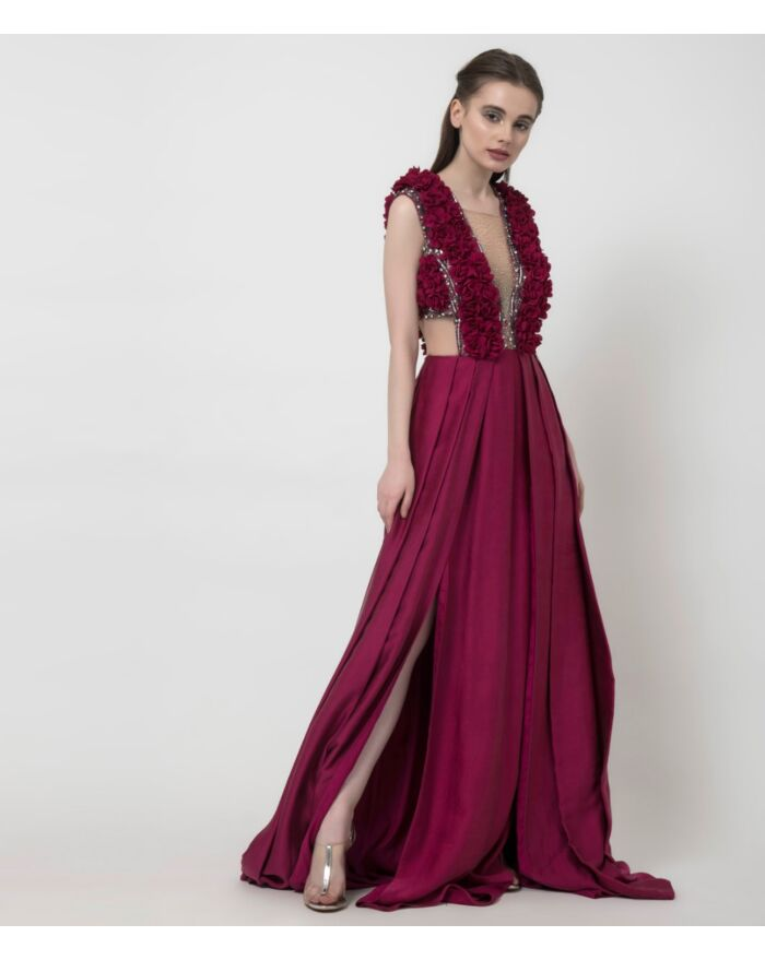 SM Premium Intricately Embellished and Appliquéd Draped Gown in Fuchsia Pink Featuring Double High Slits