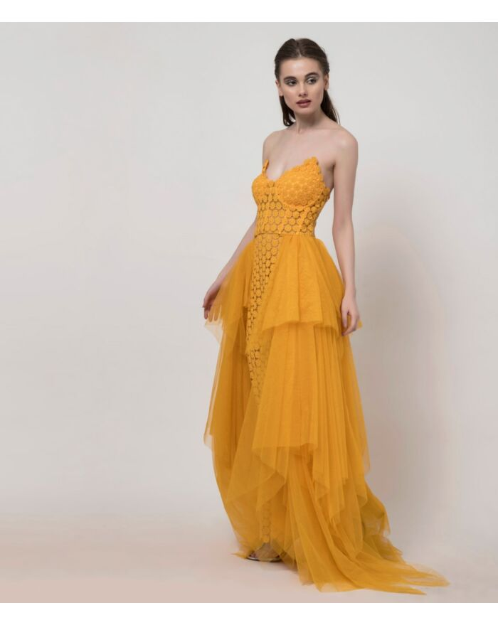 SM Premium Off Shoulder Dress and Sunflower Yellow With Overlay Draped Skirt