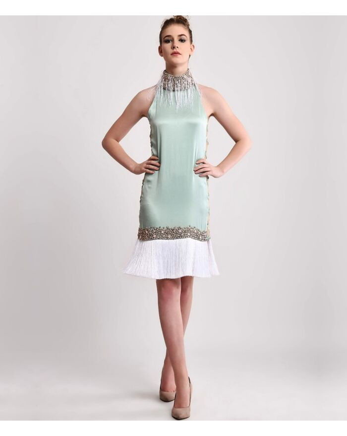 SM Premium Mint Crystal Embellished High Neck Fringed Dress