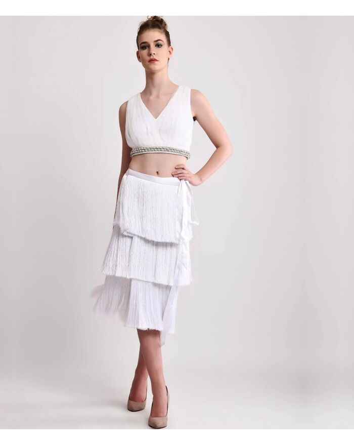 SM Premium Sexy Embellished Crop Top & Fringe Wrap Skirt Combo Set