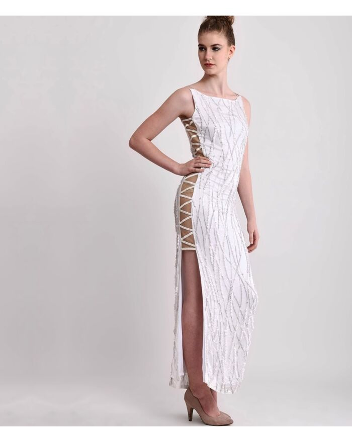 SM Premium White Silk Sculpted Side Sheer Embellished Dress