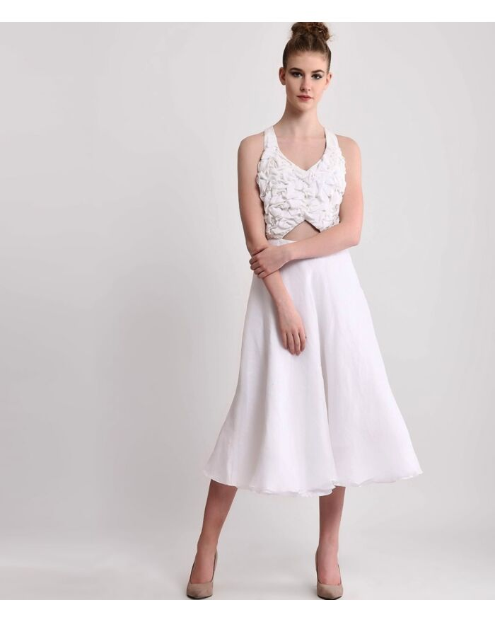 SM Premium White Silk Triangle Cut out Tea length Dress