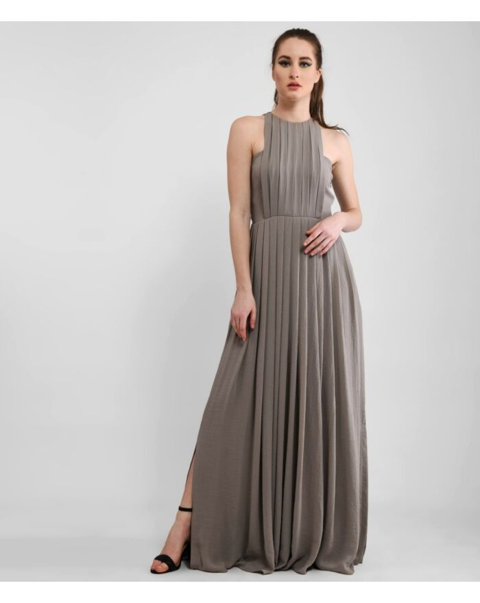 Sophisticated Grey Pleated Maxi Dress