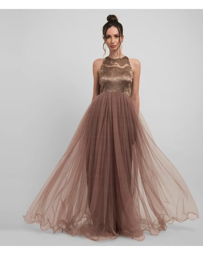 SM Premium Embellished Metallic Bronze Halter Neck Dress Featuring Cutouts And Voluminous Tulle Skirt