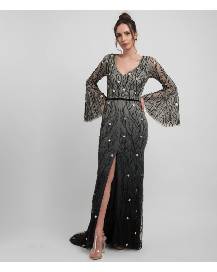 SM Premium Elegant Black V Neck Ombre Gown with Flared Sleeves Featuring Intricate Hand Beading and a Sweeping Trail