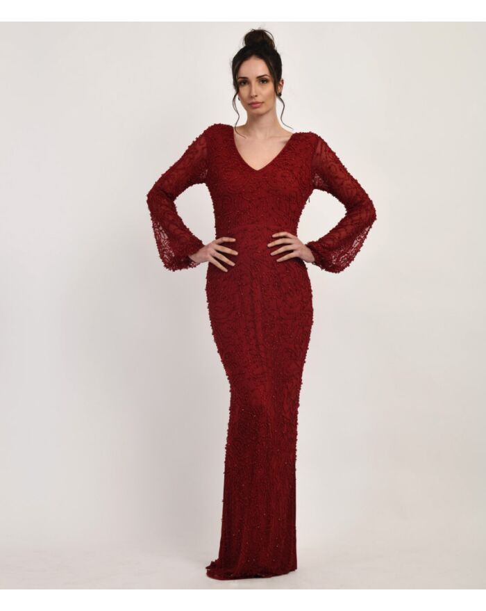 SM Premium Maroon Tone on Tone Fully Embellished Long Fitted Dress with Sheer Bishop Sleeves