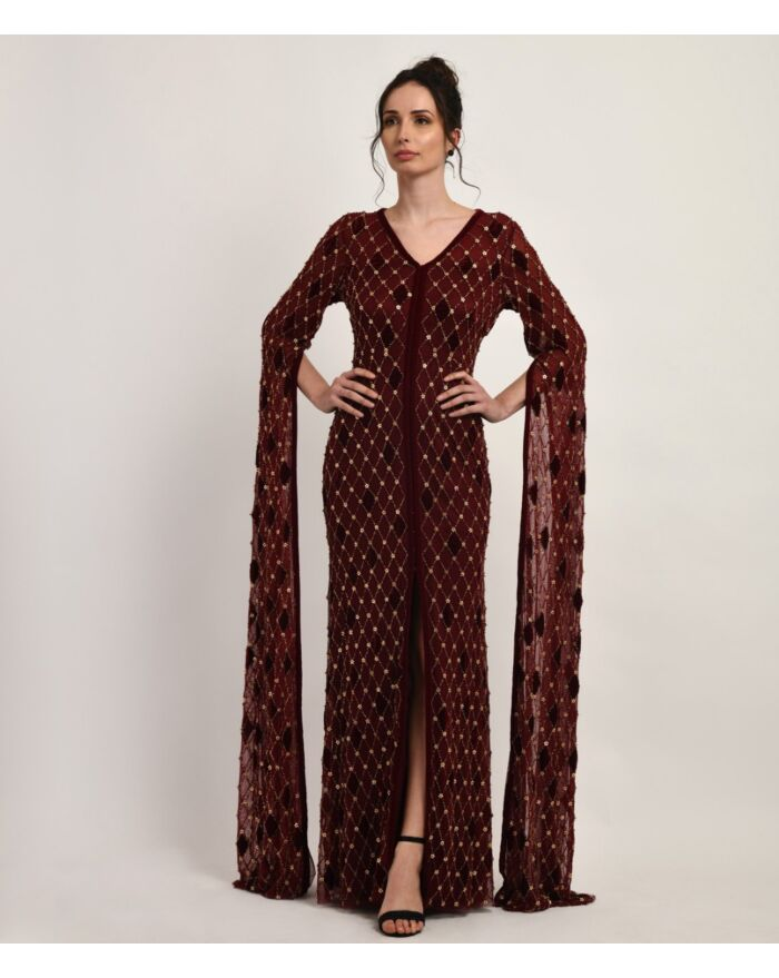 SM Premium Deep Cranberry Fully Hand Embellished Gown Featuring Cape Effect Sleeves and a Front Slit