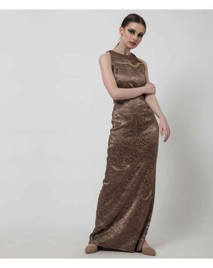SM Premium Embellished Metallic Bronze Sexy Fitted Halter Neck Dress Featuring a Side Slit